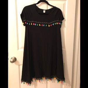 Old Navy Black T-Shirt Dress with Tassels
